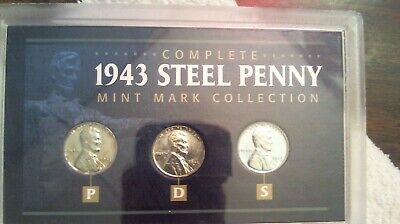 1943 P, D & S Steel Lincoln Wheat Cent Set. 3 Coins NICE CASE! (SEE PICTURES)