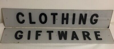 Pair of Vintage Store Display Advertising Trade Signed CLOTHING & GIFTWARE