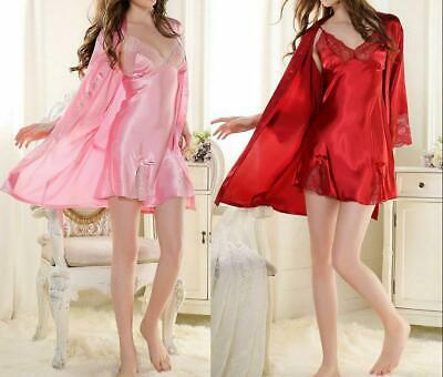 2PCS Women Sexy Lace Silk Satin Pajama Sleepwear Robes Nightwear Dress Gown Set