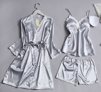 3PCS Women Night Dress Silk Satin Pajama Sleepwear Long Robes Nightwear Gown Set