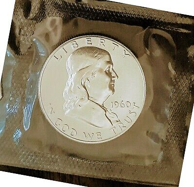 1960 Franklin Half Dollar Silver Proof Gem Sealed Cello Perfect US Coin