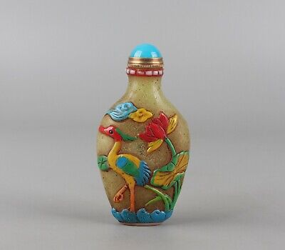 Chinese Exquisite Handmade lotus crane Carving Glass snuff bottle