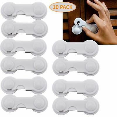 Cabinet Locks Child Safety Latch Pack of 10 - Childproof Sliding Adhesive Lock