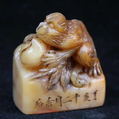 Chinese Exquisite Hand-carved monkey Carving Shoushan Stone seal