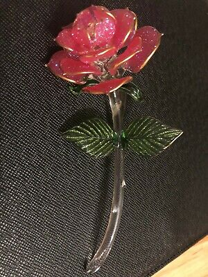 Hand Blown Art Glass Sparkling Pink Rose with stem