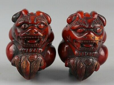Chinese Exquisite Handmade brave troops Carving Ox Horn statue a pair