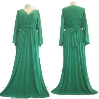 87b817b055198 New Women Green Wrap Party Kimono Long Sleeve Maxi Dress Plus Size 2XL 3XL  4XL