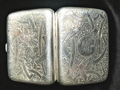 Beautiful Ornate Silver Cigarette Case BIRMINGHAM 1914 HENRY WILLIAMSON Ltd