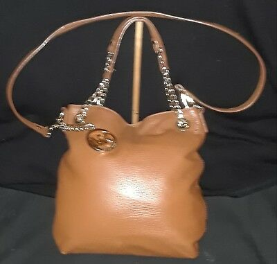 3f9810f60 Michael Kors Camel Leather And Gold Chain With Adjustable Strap Crossbody  Purse
