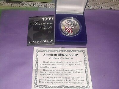 1999 American Eagle Silver Dollar $1 Painted Lady Liberty Uncirculated With COA