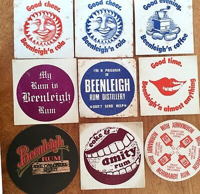 Australian Rum. Drink Coasters x 9 Different. Amity. Normanby. Beenleigh.