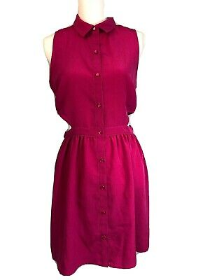 One Clothing Pink Dress Cut Out Sides Sleeveless Button Up Collared Size M