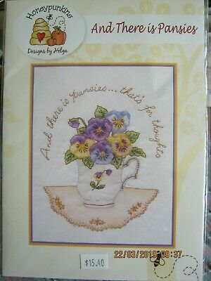 and there is pansies embroidery pattern use threads paints/watercoloured pencils