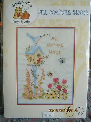 all nature sings bird embroidery pattern use threads paints/watercoloured pencil