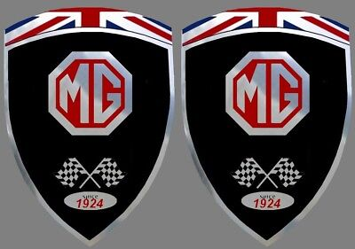 2 autocollants stickers noir chrome MG  (idéal ailes avant) mga mgb mgf