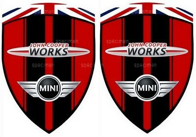 2 autocollants sticker MINI COOPER JOHN COOPER WORKS JCW  (à coller sur portes)