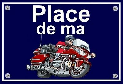 "plaque "" PLACE DE MA HONDA 1800 GOLDWING  ""  ( rouge  )"