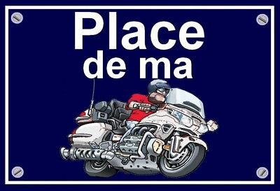"plaque "" PLACE DE MA HONDA 1800 GOLDWING  ""  ( blanche )"