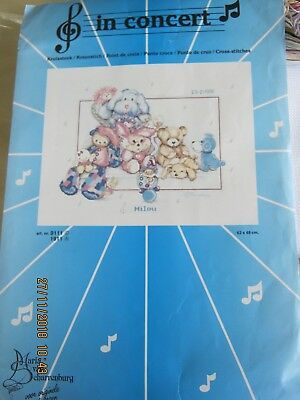 In Concert Animals Bear Rabbit Dog Counted Cross Stitch Kit Fabric+Thread Chart