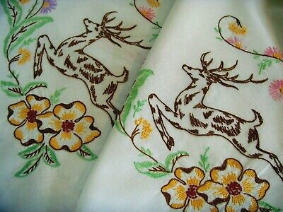 Rare Vintage Hand Embroidered Tablecloth ~ Leaping Stag Jacobean Flowers Animals