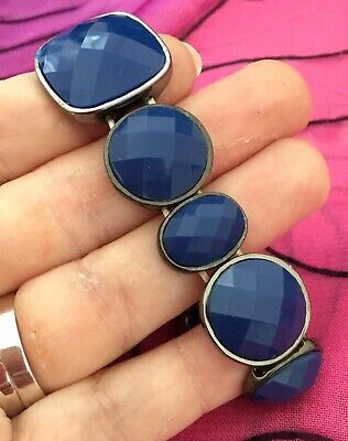 Vintage Antique Silver Blue Stone Bling Chunky Stretch Bracelet Estate Find Vtg