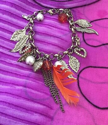 Vintage Antique Gold Love Heart Feather Charm Bracelet Estate Find Vtg Hippy