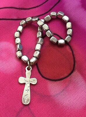 Vintage Antique Silver Religious Catholic Cross Charm Bracelet Estate Find Vtg