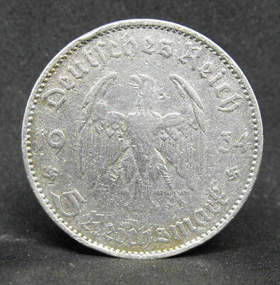 Germany 5 Mark 1934 A   Silver Coin   #1023