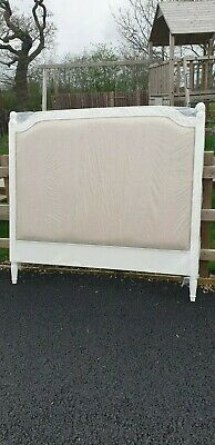 Distressed French Style Upholstered King Size Headboard Delivery Avail