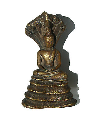 A Rare Old genuine brass made Statue Buddha Muchalinda Buddha sheltered by NAGA