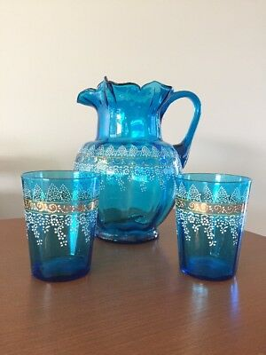 Original VICTORIAN Blue Gold Gilded Antique Jug & Cup Set Handblown 1890s 1900s