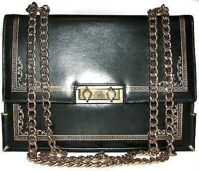 SCUOLA DEL CUOIO Black Gold Embossed Hand Crafted Purse ITALY