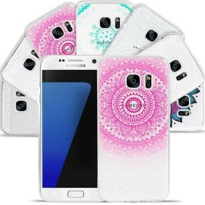 Case for Samsung Cell Phone Case Mandala Henna Motif Silicone TPU Cover