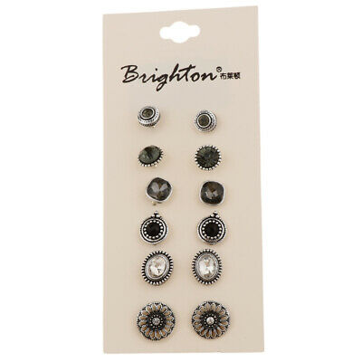 6 Pairs Assorted Boho Stud Earrings Set Vintage Jewelry for Women Girls Gift