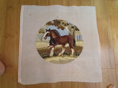 Completed Long Stitch Of A Draught Horse In A Paddock. 29.5Cms Aperture