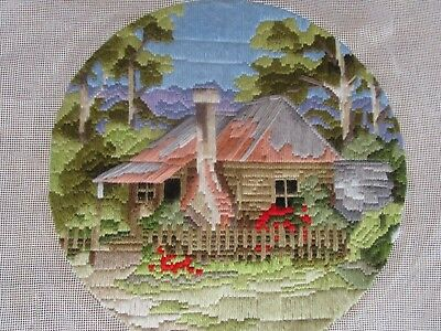 Semco Completed Long Stitch  Of A Settler's Cottage. 29Cms Round.
