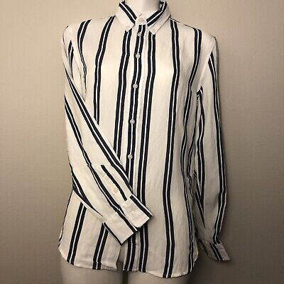 f56915821a217 Brandy Melville rare white double striped Isabela button down top Shirt Sz  Small