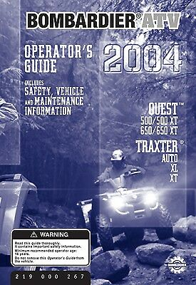 bombardier quest 500, 650 xt, traxter auto xl 2004 bound book owners manual