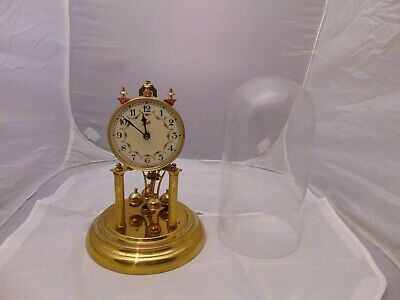 "vintage Schatz Mantel clock in glass Dome made in Germany gold color 12"" x 8"""