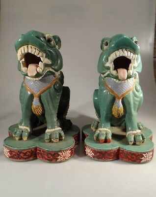 Large Pair Of Fine Chinese Green Glaze Porcelain Foo Dog Figures