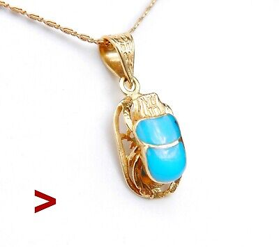 Egyptian Scarab Pendant solid 18K Gold Blue Turquoise / 2.7 gr