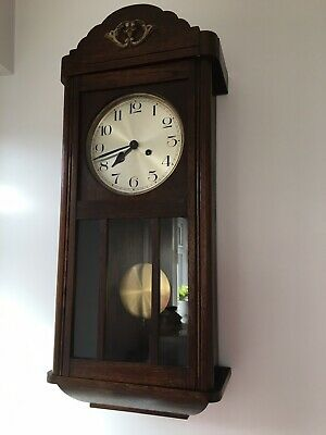 antique wall clock Post 1900 Works Beautifully
