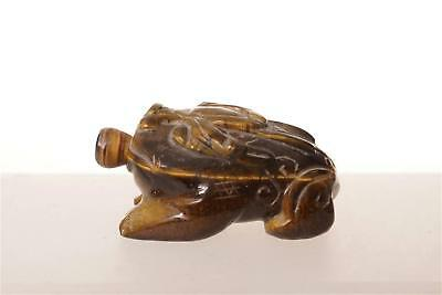 Chinese  Tiger Eye Snuff Bottle  In The Shape Of Frog
