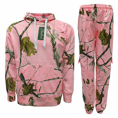 Ladies girls Pink Camouflage Tracksuit Real tree Forest Print Hoodie Jogger set