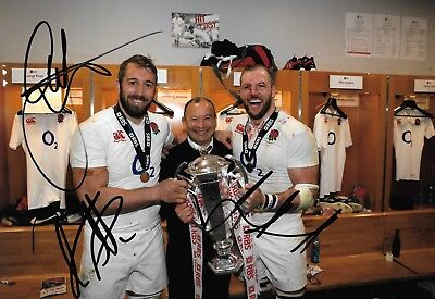 chris robshaw james haskell eddie jones grand slam trophy signed 12x8 photo