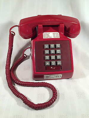 Vintage RED Western Electric Bell Push Button Desk Telephone - W/ Red Cords -