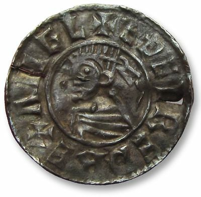 Silver penny Aethelred II, last small cross type, 1009-1017 A.D. EDELNOD Lincoln