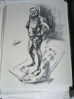 Figure life drawing nude expressive charcoal / paper, woman standing A1 size @