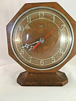 Metamec Art Deco Oak Electric Mantle Clock