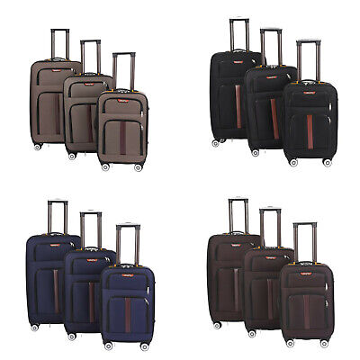 Ryanair Cabin Carry On Hand Luggage Trolley Suitcase 4 Wheels Case Bag Set of 3